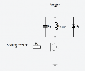 Schematic of motor being driven by a microcontroller pin
